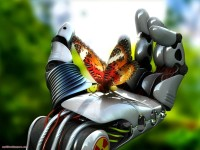 Robotic and nature wallpaper