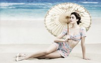 beach brunette girl emmy rossum umbrella hd wallpaper