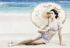 beach brunette girl emmy rossum umbrella hd wallpaper