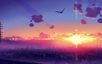 city birds clouds sun anime hd wallpaper