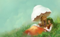 girls grass umbrella art anime hd wallpaper