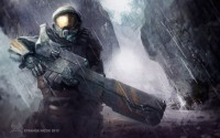 halo armor warrior weapon rain art hd wallpaper