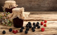 jam jars berries grapes blackberries raspberries currants hd wallpaper