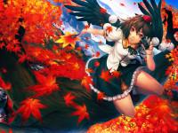 Anime Girl Autumn Leaves