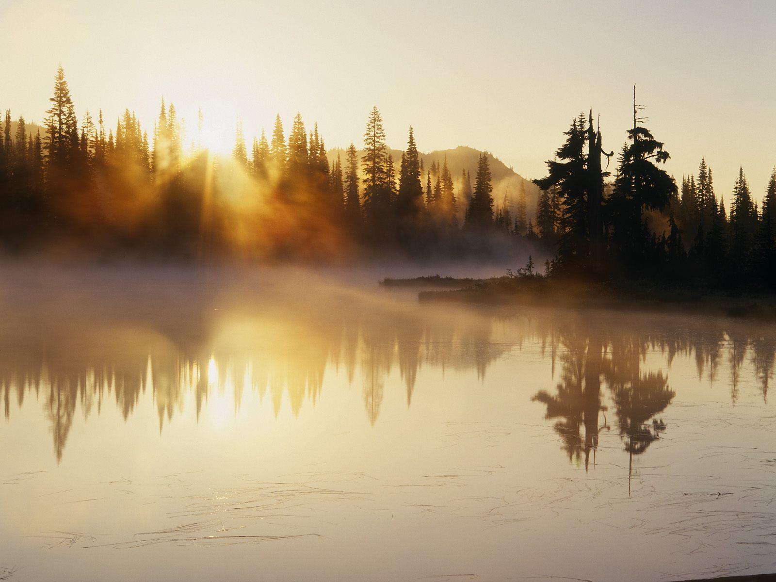 Fog Over Reflection Lake at Sunrise, Mount Rainier National Park, Washington