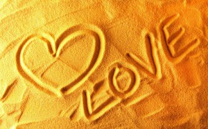 Love in sand 2014 valentines day