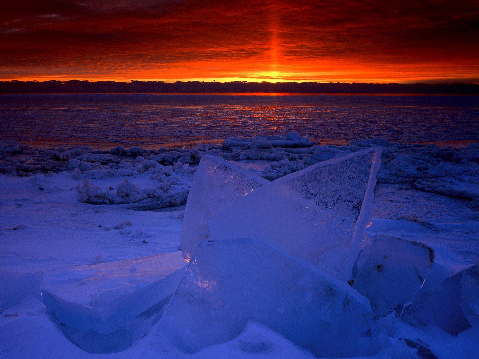 Sunrise Light on the Frozen Shores of Newport Bay, Lake Michigan, Wisconsin