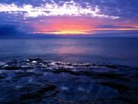 Sunrise Light on the Rocky Shores of Lake Michigan, Wisconsin