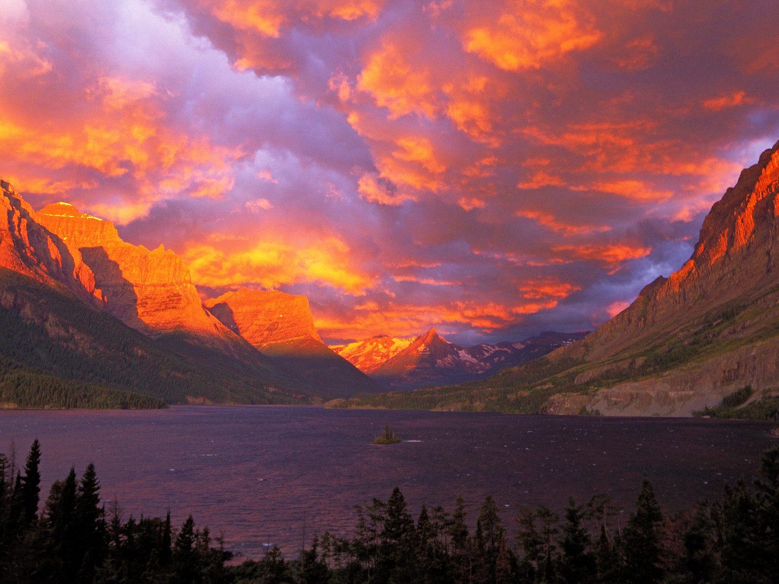 Sunrise Over St. Mary Lake, Glacier National Park, Montana