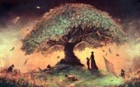 Tree landscape children art hd wallpaper