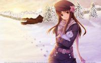 Anime Girl Winter Snow Cat wallpaper