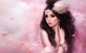 Beauty Fantasy Girl Pink Wallpaper