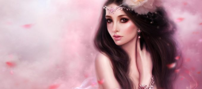 Beauty Fantasy Girl Pink Wallpaper