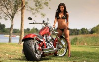 Motorcycle with girl wallpaper