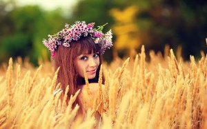 Photoshoot Cute Girls on The Wheat Field Wallpaper