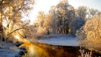 River snow nature wallpaper